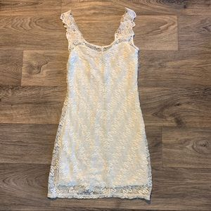 Free People White Foiled Again Bodycon Lace Dress